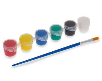 6 Acrylic Paints with Paintbrush 5ml