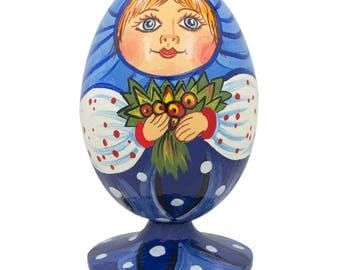 "3.5"" Russian Doll Matryoshka with Flower Bouquet Wooden Figurine"