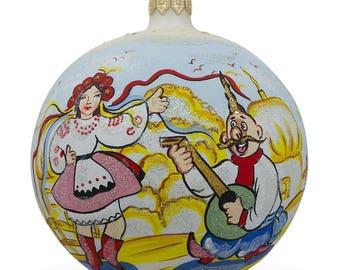 """4"""" Ukrainian Couple Dancing in Vyshyvanka Glass Ball Christmas Ornament"""