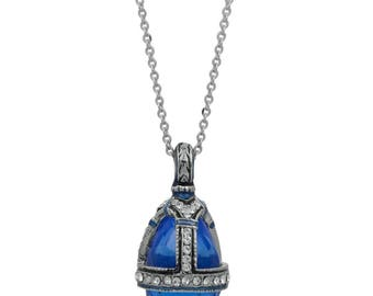 """Blue Water Drop Crystal Royal Egg Pendant Necklace 22"""""""