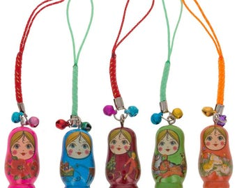 "1.5"" Set of 5 Wooden Russian Nesting Doll Matryoshka Key Chain Charms"