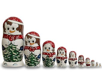 "10.25"" Set of 10 Snowmen with Christmas Tree Wooden Nesting Dolls"