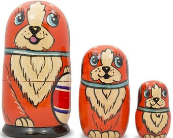 """5"""" Set of 3 Dogs with Ball Matryoshka Wooden Russian Nesting Dolls"""