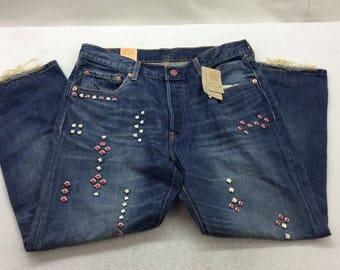Levi's Womens 501 Studded Medium Wash Limited Edition Boyfriend Jeans  34 inch waist