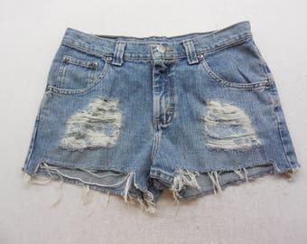 """Womens Medium Wash Distressed Denim Cut Off Mid Rise Jean Shorts Size 30"""" Waist"""