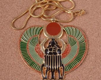 Amazing Egyptian Large Coloured Enamelled Winged Scarab Necklace
