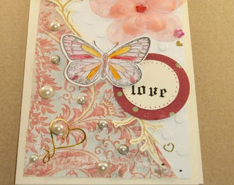 Card to send pink and cream LOVE