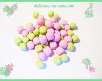 Polymer clay miniature Marshmallow set of 50 Fimo bottle lot