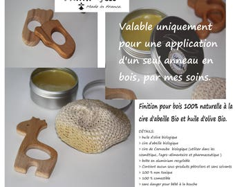 Natural organic beeswax finish for wood, 100% ring and organic olive oil.