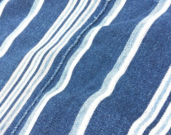 Mud Cloth, Stripes, Authentic Vintage African Indigo Stripe fabric, Home Decor, Upholstery Fabric