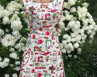 Vintage apron, plus size apron, full apron