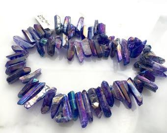 Crystal Points Blue Mystic Quartz Irregular Aurora Borealis Semi-Precious Top Drilled Stick Jewelry Supply Spike Game of Thrones Inspired
