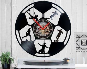 Soccer clock, Vinyl clock, soccer Ball, football, gift for soccer fan, quartz, vinyl, birthday, gift, funny, wall clock, housewarming,