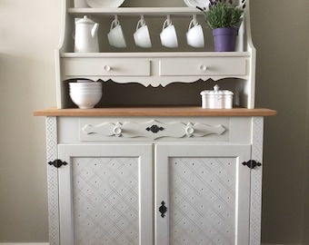 Country Kitchen Dresser with Carved Detailing and Pretty Drawer Fronts