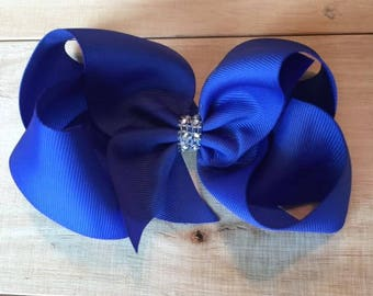 Large Twisted Boutique Hair Bow Diamond accent