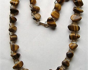 VINTAGE TIGERS EYE necklace 1950S