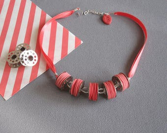Sewing collar, coil collar, necklace 5 sewing machine cans and polymer clay (fimo) threads pink, pink necklace
