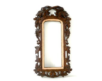 Antique Ornate Arched Picture Frame - Carved & Painted Wood - Victorian Frame - Carved Foliage Decoration