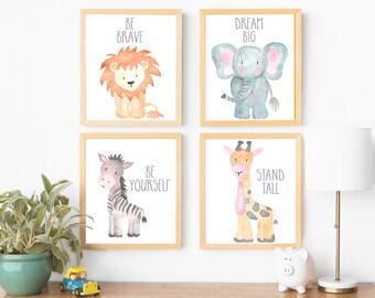 Boy Nursery Wall Art Boy Nursery Decor Baby Animals Gray Nursery Neutral  Nursery Elephant Lion Giraffe