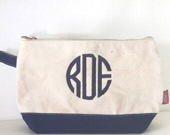 Monogram Bag, Monogrammed Navy Blue Makeup Bag, Monogrammed Cosmetic Bag, Jute Makeup Bag, Cosmetic Bag