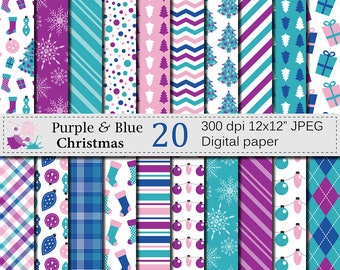 Purple and Blue Christmas Digital Paper, Frozen Christmas Digital papers, Christmas Lights, Trees, Stockings, Presents, Ornaments, Download