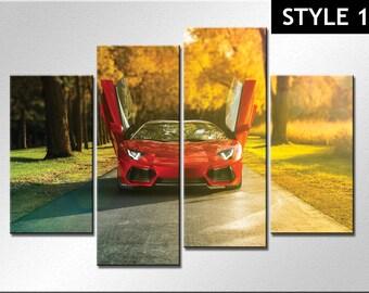 Lamborghini Aventador Sports Car 4 Panel canvas