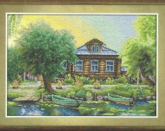 Cross Stitch Kit Russian Fishing Village