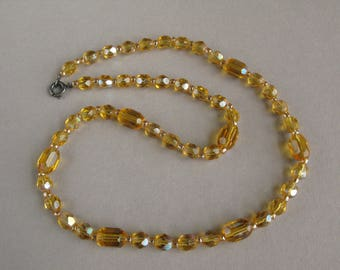Vintage Art Deco necklace, Czech glass bead necklace, Faceted beads