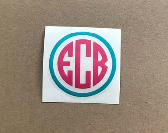 Two Color Monogram Decal | Three Initials with Border | Circle Monogram Decal | Laptop Decal | Car Decal | Personalized Decal