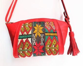 Exclusive Vintage kilim & red Leather Shoulder Bag , Boho Style bag , Original Shoulder Bag, Kilim Bag, Ethnic Leather Bag