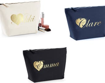 PERSONALISED MAKE-UP Bag Case Gold Heart print Wash Toiletry Cosmetic Wedding Bridesmaid Bridal Party Christmas Present