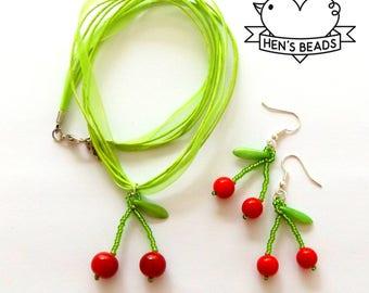 Cherry Beaded Jewelry Set