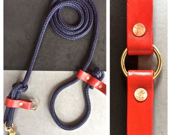 The Red Leather O Ring Collar/Red and Blue Rope Leash Combo