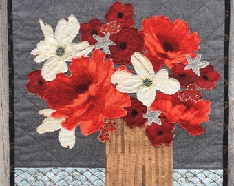 Handmade Fabric Collage Bouquet/Wall Hanging/Wall Art/Art Quilt