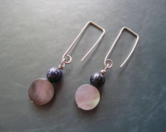 Blue Goldstone and Shell Earrings