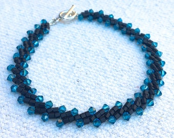 Katherine Bracelet in Indicolite & Black with Swarovski crystals and TOHO hex 11/0 seed beads  .