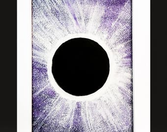 Total Solar Eclipse Original Painting Watercolor Purple Black White Matted Ready to Frame 5x7 Art 8x10 Mat