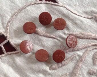7 Vintage Vegetable Ivory Buttons. Tagua Nut. Chocolate Milk.