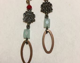 Red and Light Blue Copper Sangle Earrings.