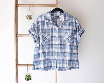 Short Sleeve Cropped Plaid Button-up - Women's Vintage Clothing Size Large - Preppy, Grunge, Hipster, Basic, Minimal