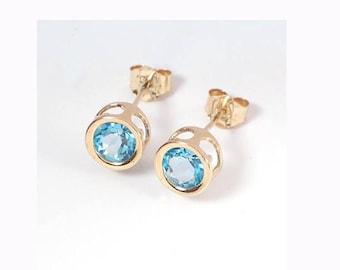 14k Gold Blue Topaz Stud Earrings 1.52ct.   E425