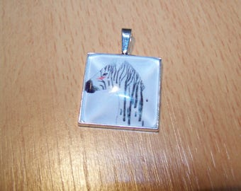 Pendant silver square cabochon 25mm, pattern choice