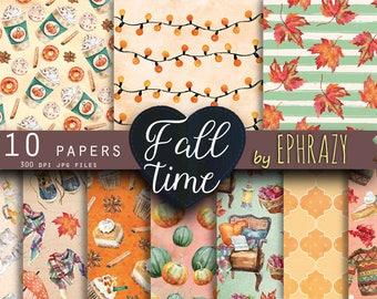 Fall digital paper, Autumn digital paper, Digital paper, Scrapbook paper, Fall paper, Fall digital papers, Autumn leaves, Pumpkin