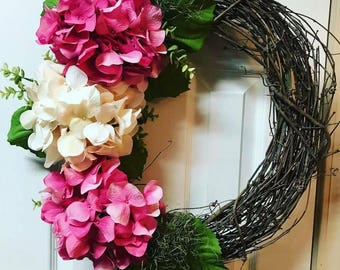 Customized Spring Wreaths For Door Decorations, Size 19 to 24 Inches, Hydrangea Floral Wall Decor, Choose Your Own Color Flowers