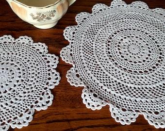 Lace Doilies. A Pair of Crochet Doilies. 2 Round Doilies. Lace Crochet Doilies. 2 Vintage Doilies. White Doilies. 2 Lace Doilies RBT1947