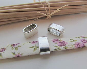 5 beads for 11 x 5 mm - silver - 64.19 cord