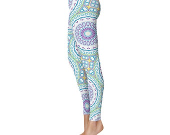 Spring Leggings - Fun Leggings, Blue and Purple Mandala Pattern Footless Tights, Stretchy Pants, Yoga Clothing