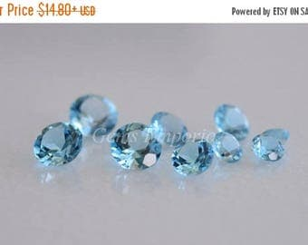 ON SALE Swiss Blue Topaz Round Faceted 2 mm, 2.50 mm / Top Quality Blue Topaz / Price by lot size of 10 pcs.