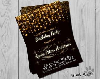 Golden Birthday Invitation - Glamorous Black, Gold and white Invite - Golden Digital Invitation - Chic and simple - Golden Glitter