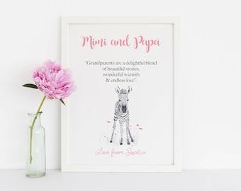 Personalized Gift for Mimi And Papa, Zebra Art Print for Grandparents, Birthday Gift for Grandma or Grandpa